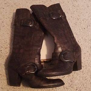 Born Crown Brown Leather Heeled Boots Sz 7
